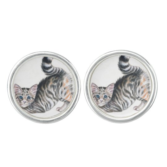 yoga kitten cufflinks