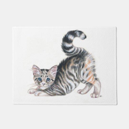 yoga kitten doormat