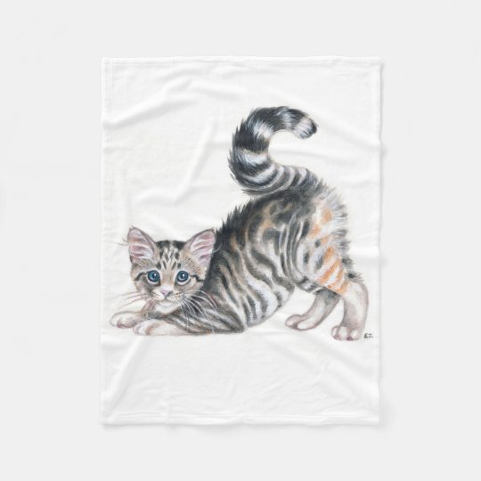 yoga kitten fleece blanket