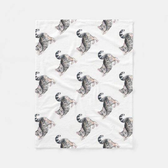 yoga kitten fleece blanket
