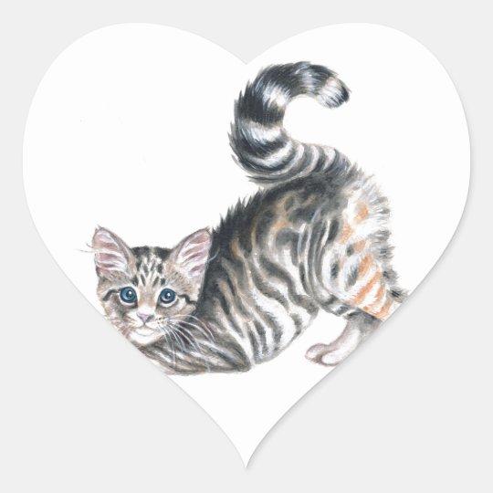 yoga kitten heart sticker