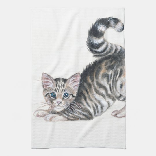 yoga kitten kitchen towel
