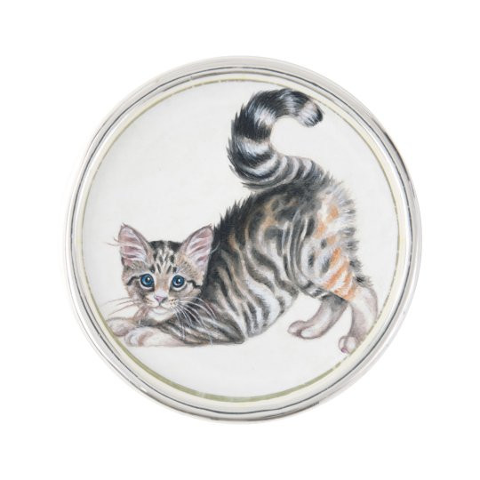 yoga kitten lapel pin