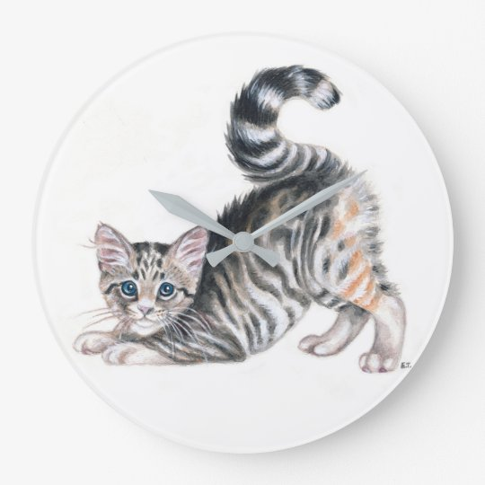 yoga kitten large clock