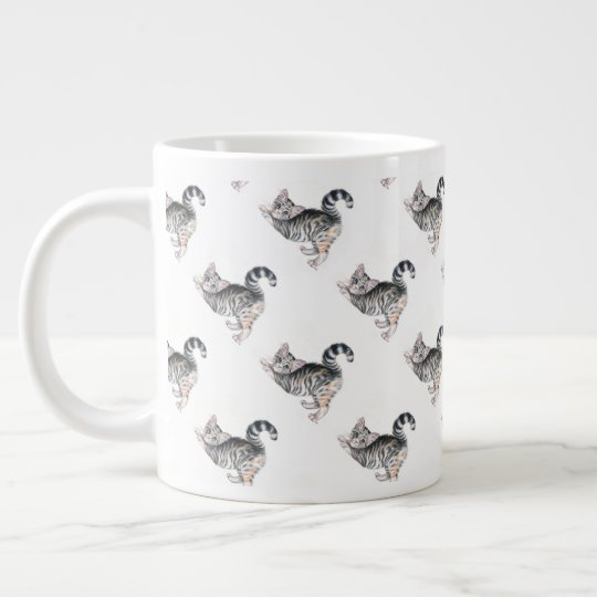 yoga kitten large coffee mug