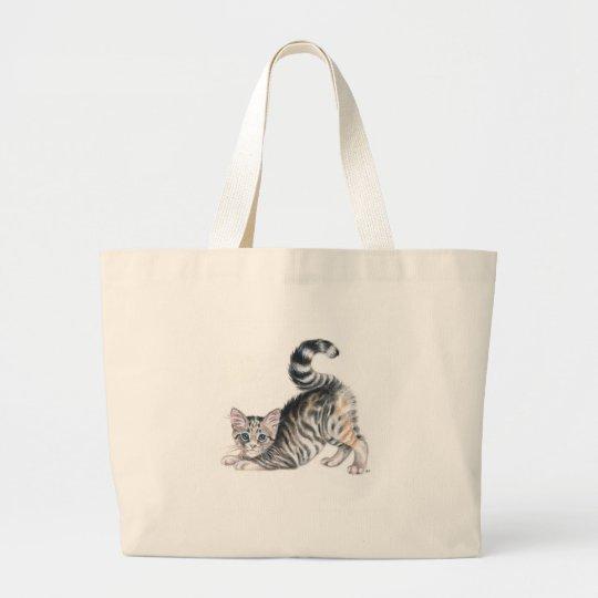 yoga kitten large tote bag