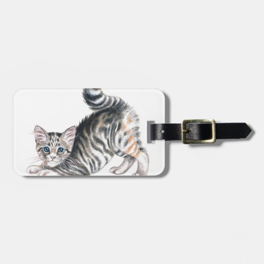 yoga kitten luggage tag
