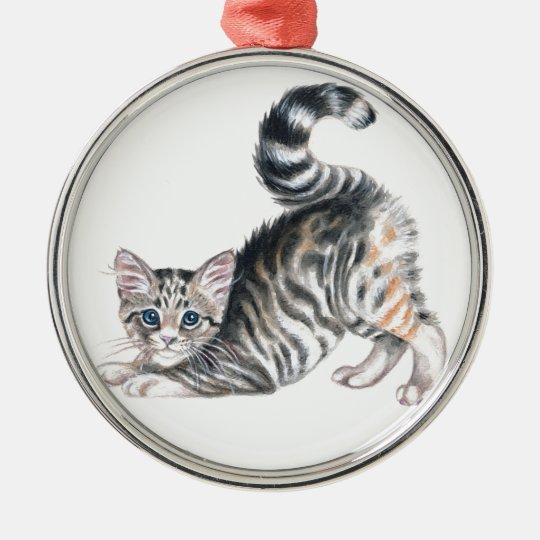 yoga kitten metal ornament
