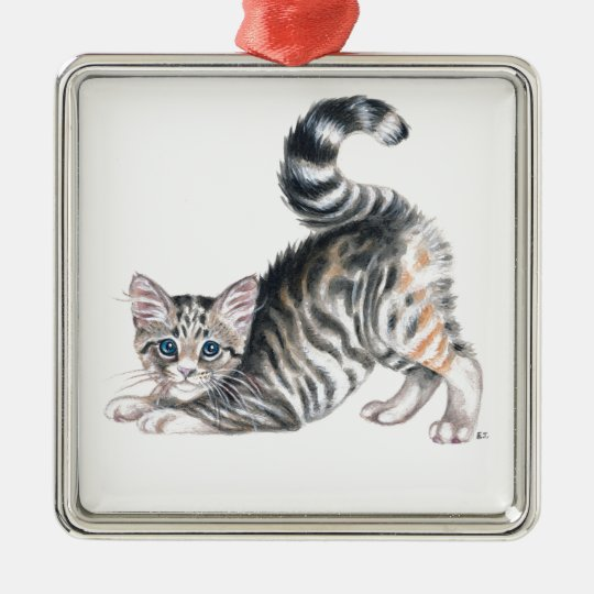 yoga kitten metal ornament