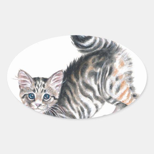yoga kitten oval sticker