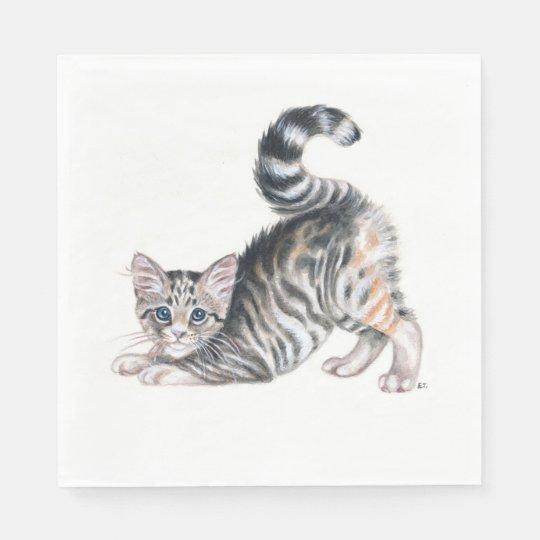 yoga kitten paper napkin