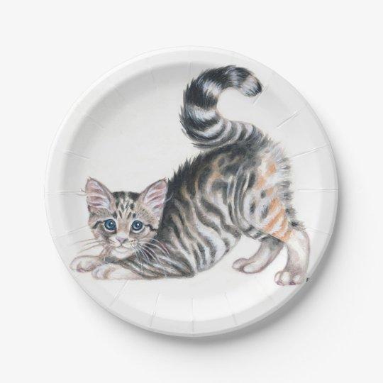 yoga kitten paper plate