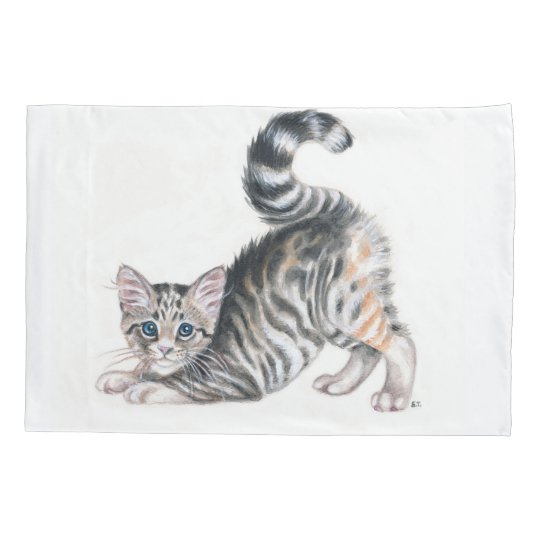 yoga kitten pillowcase
