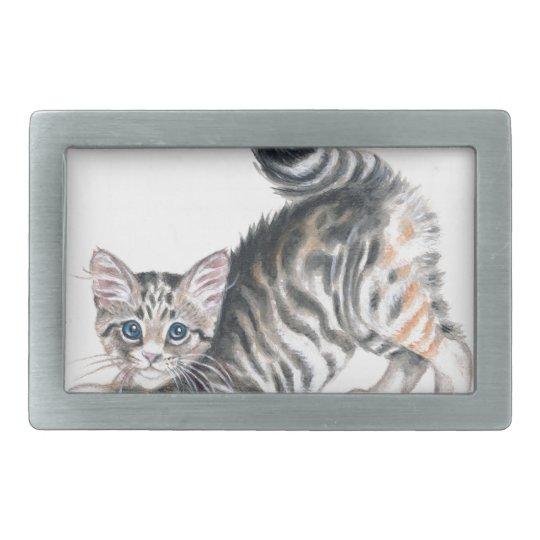 yoga kitten rectangular belt buckle