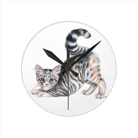 yoga kitten round clock