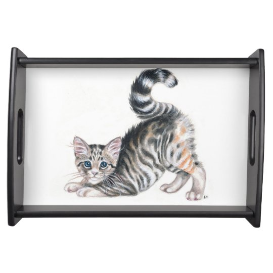 yoga kitten serving tray