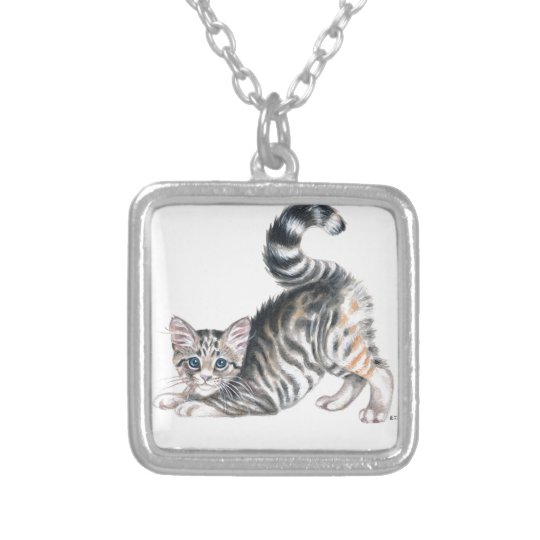 yoga kitten silver plated necklace
