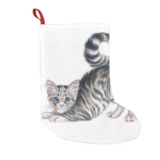 yoga kitten small christmas stocking