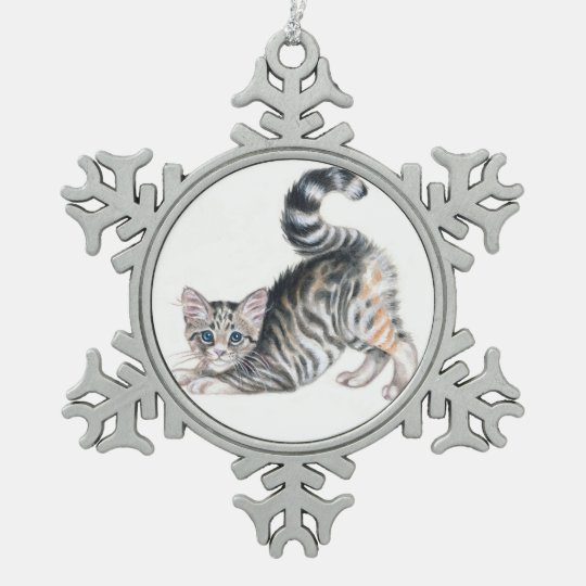 yoga kitten snowflake pewter christmas ornament