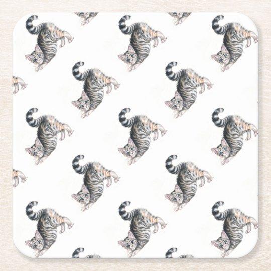 yoga kitten square paper coaster