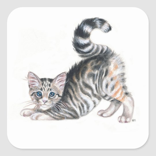 yoga kitten square sticker