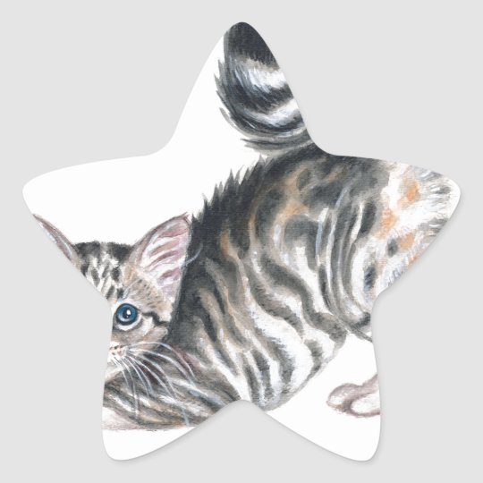 yoga kitten star sticker