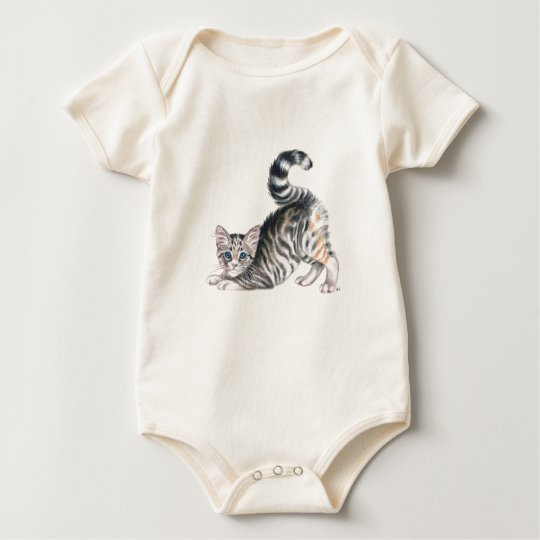 yoga kitten stretch baby bodysuit