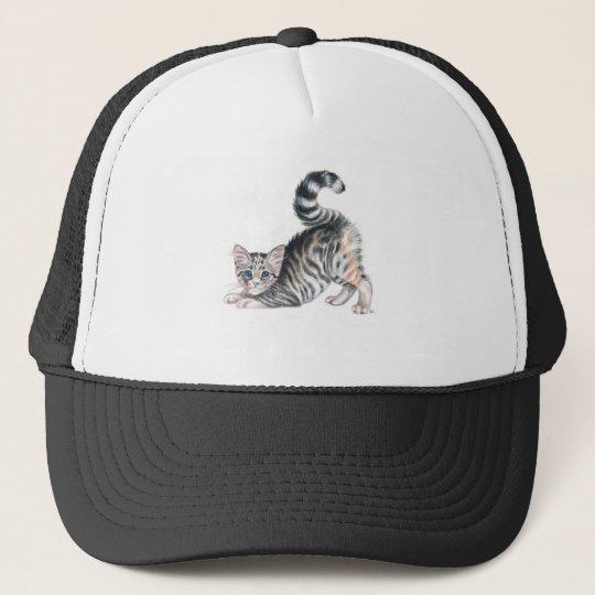 yoga kitten stretch trucker hat