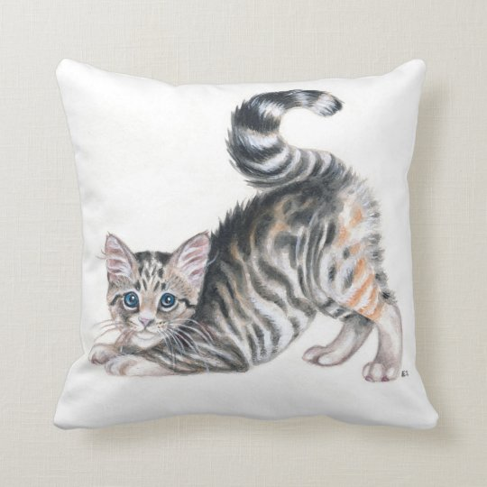 yoga kitten throw pillow