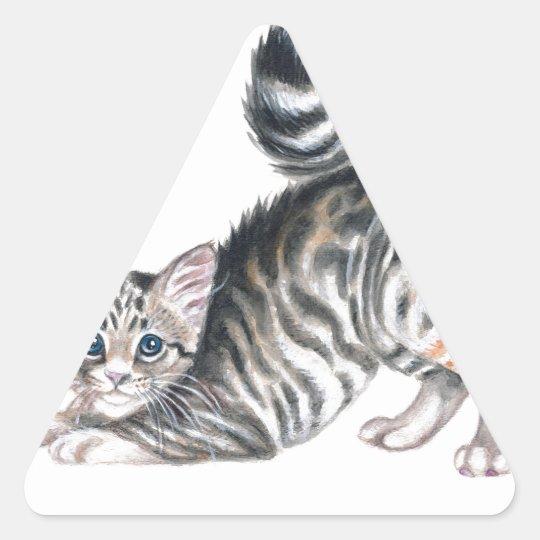 yoga kitten triangle sticker