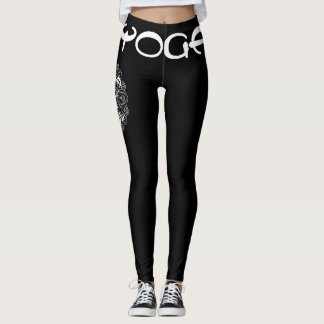 Yoga Leggings White on Black Yoga Pants