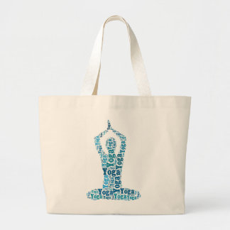 Yoga Lotus Pose Word Cloud Zen Large Tote Bag