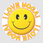Yoga Love Smile Round Sticker