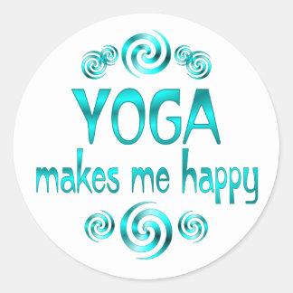 Yoga Makes Me Happy Classic Round Sticker