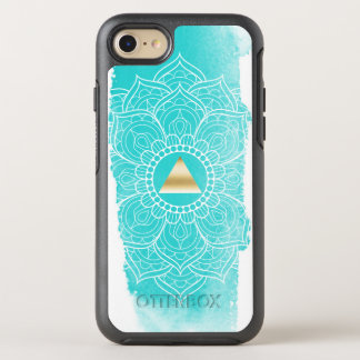 Yoga Mandala Gold Triangle Watercolor Turquoise OtterBox Symmetry iPhone 8/7 Case