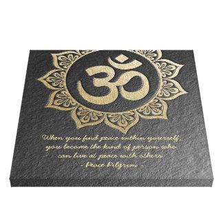 YOGA Meditation Chic Black Gold OM Mandala Quotes Canvas Print