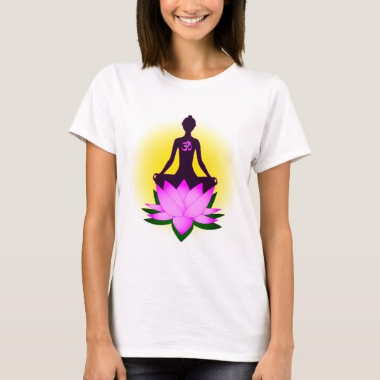 Yoga meditation in pink lotus flower woman's shirt
