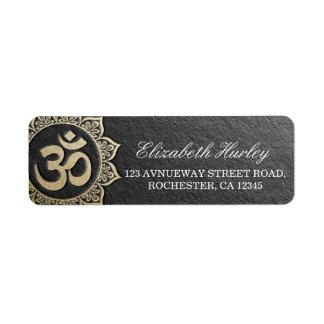 YOGA Meditation Instructor Black & Gold OM Mandala