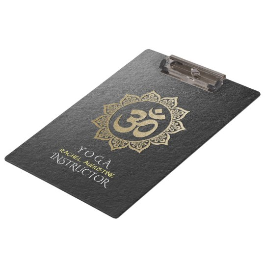 YOGA Meditation Instructor Black & Gold OM Mandala Clipboard
