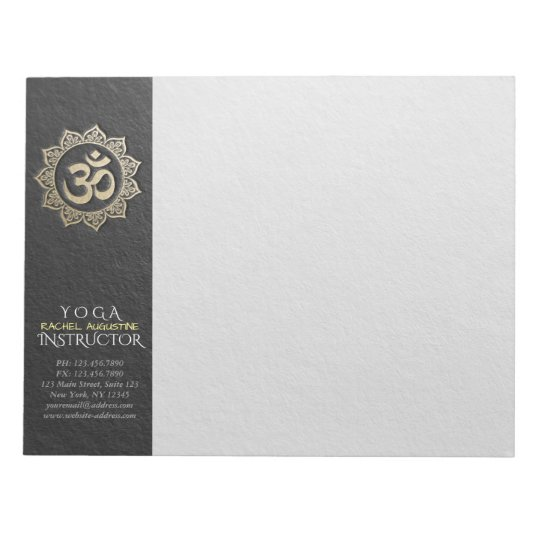 YOGA Meditation Instructor Black & Gold OM Mandala Notepad