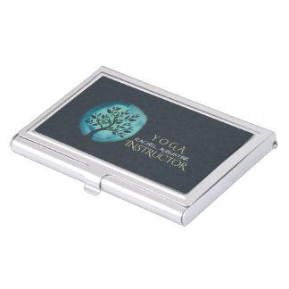 Yoga Meditation Instructor Elegant Watercolor Tree Business Card Holder