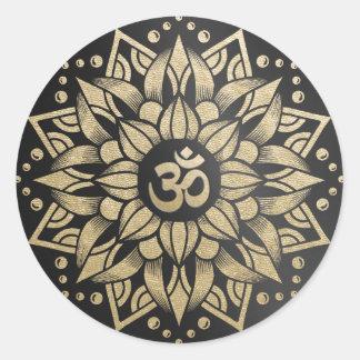 Yoga Meditation Instructor Gold Mandala Om Symbol Classic Round Sticker