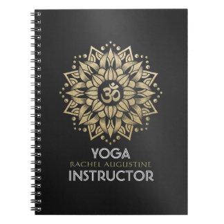 Yoga Meditation Instructor Gold Mandala Om Symbol Notebook