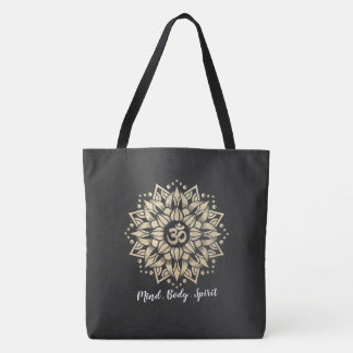 Yoga Meditation Instructor Gold Mandala Om Symbol Tote Bag