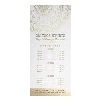 YOGA Meditation Instructor Price List Gold Mandala Rack Card