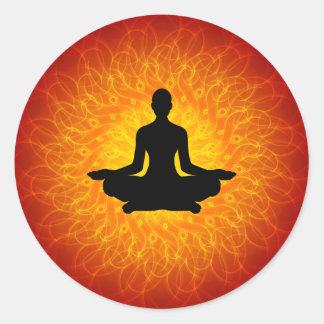 Yoga - Meditation On Mandala Classic Round Sticker