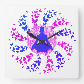 yoga meditation positive energy  peace of mind fre square wall clock