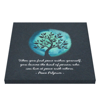 YOGA Meditation Quotes Elegant Watercolor Tree Canvas Print