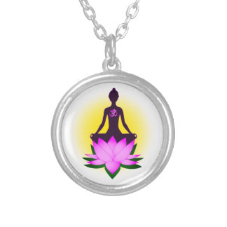 Yoga meditation silver plated necklace