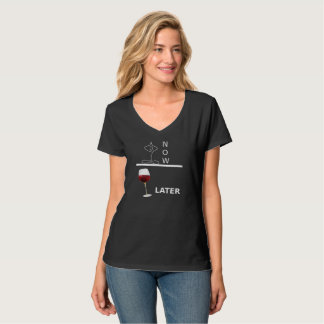 Yoga now, wine to later tee
